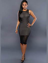 Women's Round Collar Sexy Cut Out Stripe Solid Bodycon Dress