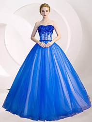 Ball Gown Princess Strapless Floor Length Tulle Formal Evening Dress with Crystal Detailing Sequins by MMHY