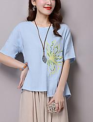 Women's Floral Blue / Pink Loose Blouse,Vintage/Simple/Casual Ethnic Print Asymmetrical Short Sleeve Cotton/Linen
