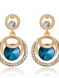Luxury Dark Blue Crystal Circle Drop Earrings Micro Insert Fashion Jewelry for Women