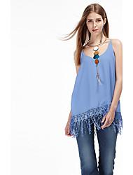 heartsoul Frauen Ausgehen einfache Sommer Tank Top, feste Riemen ärmel blau / orange Polyester dünn