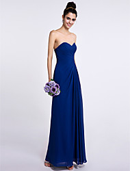 Ankle-length Chiffon Bridesmaid Dress Sheath / Column Sweetheart with Side Draping