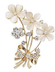 Fashion Women Rhinestone Opal Gold Flower Brooches fow wedding