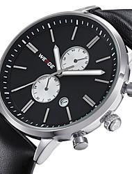 reloj de vestir calendario banda de cuero de los hombres