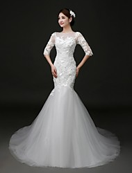 Trumpet / Mermaid Wedding Dress Sweep / Brush Train Jewel Lace / Tulle with Appliques / Beading