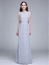 Lanting Bride Floor-length Chiffon Bridesmaid Dress Sheath / Column Bateau with