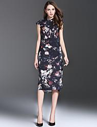 estilo de roupa vestido padrão de silhueta das mulheres es.dannuo, tecido comprimento do vestido decote