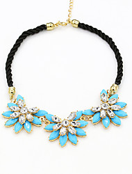 Women's Pendant Necklaces Crystal Resin Rhinestone Nylon Alloy Fashion Black Yellow Rose Blue Jewelry Wedding Party Daily Casual 1pc