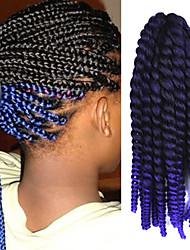 "Black Ombre Purple 12"" Kid's Kanekalon Synthetic 2X Havana Mambo Twist 2 Tone 100g Hair Braids with Free Crochet Hook"