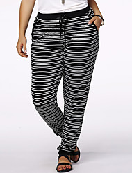 Women's Striped Blue / Black Active Pants,Plus Size / Active