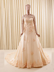 A-line Wedding Dress Chapel Train Bateau Lace / Tulle with Appliques