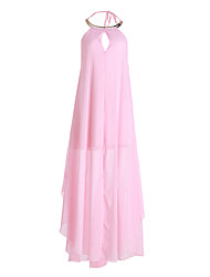 Women's Party/Cocktail Dress,Solid Maxi Sleeveless Pink Summer