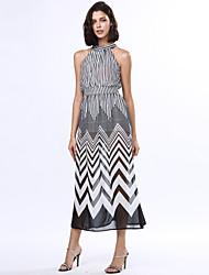 Women's Black & White Stripes Sexy Sleeveless Maxi Dress