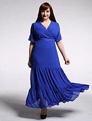 Women's Beach / Plus Size Boho Swing Dress,Solid V Neck Maxi Short Sleeve Blue / Red Polyester Summer