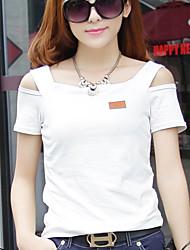 Damen Solide Einfach Lässig/Alltäglich T-shirt,Quadratischer Ausschnitt Alle Saisons Kurzarm Rot / Weiß / Schwarz / Grün / GelbBaumwolle