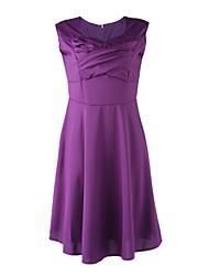 Women's Party/Cocktail Vintage Plus Size Dress,Solid Square Neck Knee-length Short Sleeve Black / Purple Cotton Fall