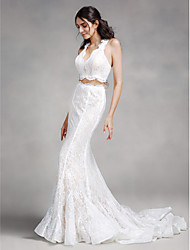Mermaid / Trumpet V-neck Court Train Lace Wedding Dress with Lace by LAN TING BRIDE®