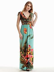 Women's Beach / Plus Size Boho Swing Dress,Print Deep V Maxi Sleeveless Black Polyester Summer