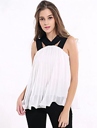 Women's Casual/Daily Street chic Summer Blouse,Patchwork Strap Sleeveless Red / White Polyester Medium