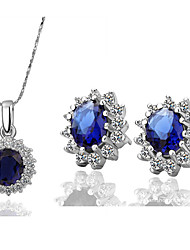 Women's Classic Luxury Fashion Zircon Earrings Necklace Set