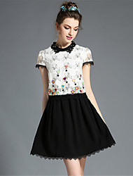 AOFULI Plus Size Womens Clothing Elegant Bead Embroidered Patchwork Lace Color Block A-Line Dress