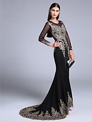 Formal Evening Dress Trumpet / Mermaid Off-the-shoulder Sweep / Brush Train Chiffon with Appliques