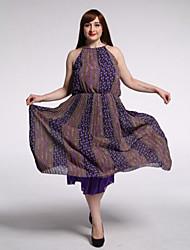 SWEET CURVE Women's Beach / Plus Size Boho Swing Dress,Print Round Neck Maxi Sleeveless Purple Cotton / Linen Summer