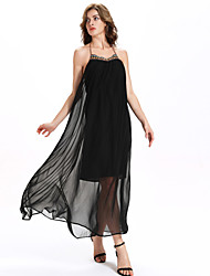 Women's Casual/Daily Boho A Line / Chiffon Dress,Solid Halter Maxi Sleeveless Black Polyester / Others Summer
