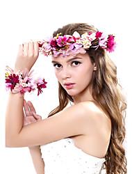 Femme Polyester / Tissu Casque-Mariage / Occasion spéciale / Extérieur Couronnes 2 Pièces Multicolore Fleur 53-56cm