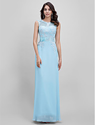 Formal Evening Dress A-line Bateau Floor-length with Appliques