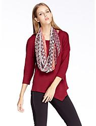 les femmes heartsoul de sortir t-shirt simple été, col rond solide ¾ manches rouge polyester / spandex / autres minces