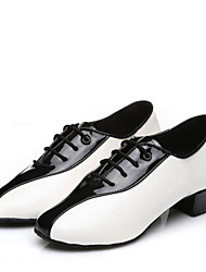 Men's Dance Shoes  Latin /International Dance/ Modern Sneakers Low Heel Indoor / Performance  Shoes Black / White