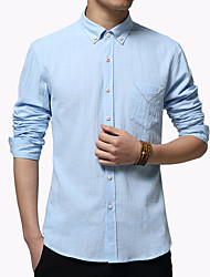 Men's Fashion Solid Casual Comfortable Slim Fit Long-Sleeve Shirt,Cotton/Solid/Business