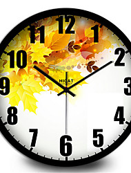 Fresh Yellow Maple Home Furnishing Modern Decorative Metal Wall Clock