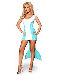 Costumes de Cosplay / Costume de Soirée Sirène Fête / Célébration Déguisement Halloween Bleu Mosaïque Robe Halloween Féminin