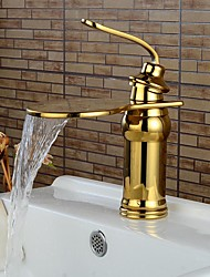 Contemporary Ti-PVD Waterfall Bathroom Sink Faucets