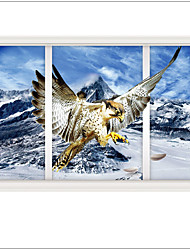 New Design 3 d Wall Stickers Snow Mountain Hawks Landscape Decorative Home decal ,PVC Removable Home Decoration