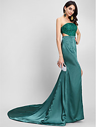 TS Couture® Formal Evening Dress Trumpet / Mermaid Strapless Court Train Stretch Satin with Beading