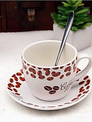 copo de café fosco cerâmica 200ml definido com prato do café