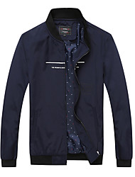 Men's Long Sleeve Casual / Sport Jacket,Polyester Solid Black / Blue / Gray