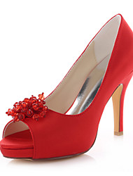 Women's Shoes Stretch Satin Stiletto Heel Heels / Peep Toe Sandals Wedding / Dress Red