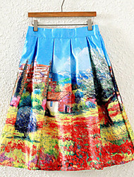Women's Print Blue Skirts,Vintage Midi