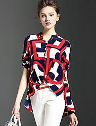 Для женщин На выход Лето Рубашка V-образный вырез,Уличный стиль С принтом С короткими рукавами,Шёлк,Тонкая
