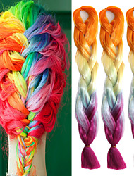 "Orange Yellow Light Blue Purple Ombre Crochet 24"" Yaki Kanekalon 100g 4 Tone Jumbo Braids Synthetic Hair"