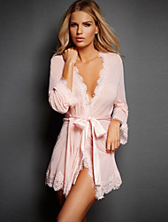 Women Silky Net Yarn Lace Cardigan Pure Color Sexy Sleepwear Lingerie Nightwear
