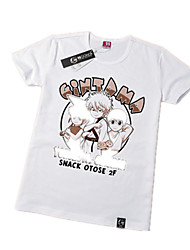 Inspired by Gintama Gintoki Sakata Anime Cosplay Costumes Cosplay Tops/Bottoms Print White Short Sleeve T-shirt