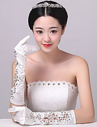 Elbow Length Fingertips Glove Spandex Bridal Gloves / Party/ Evening Gloves Spring / Summer  White Rhinestone