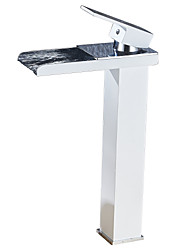 Contemporain Vasque Cascade with  Soupape en laiton Mitigeur un trou for  Chrome , Robinet lavabo