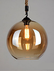 American Retro Loft  Hemp Rope Amber Glass Pendant Lights Bar Restaurant Lights  Clothing Store Decoration Lighting