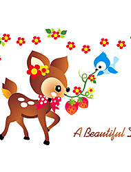 Cartoon Sika Deer Animals a Bautiful Day Wall Stickers Fashion Kindergarten Children's Bedroom Wall Decals